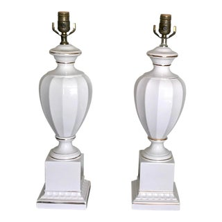 White Vintage 24 K Gold Gilded Porcelain Ribbed Neoclassic Lamps - a Pair