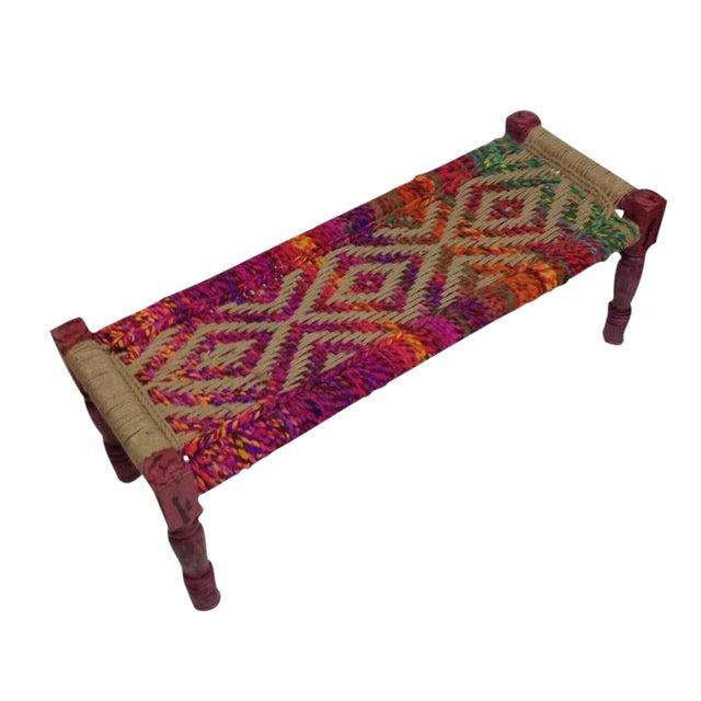 Coco Multicolored Woven Bench - Image 1 of 5