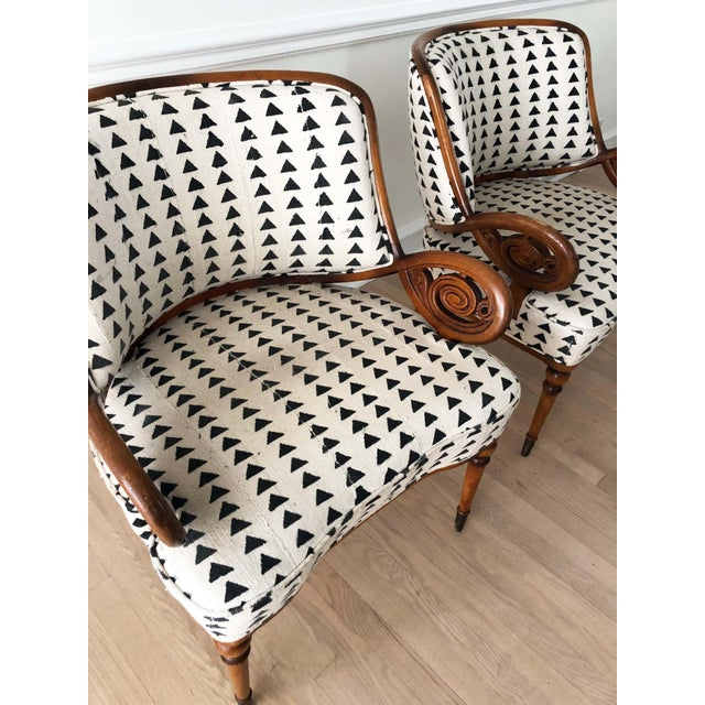 Vintage Black & White Upholstered Arm Chairs - A Pair For Sale - Image 9 of 13