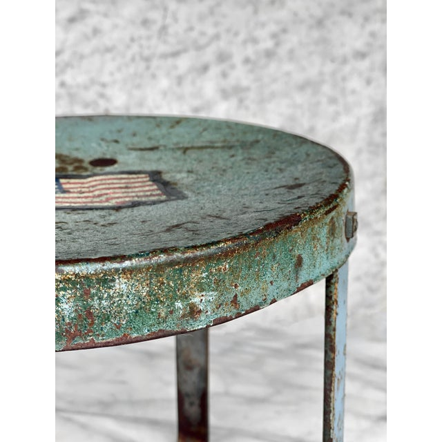 Early 20th Century Vintage Rustic Farmhouse Aluminum Metal Low Milking Stool For Sale - Image 5 of 9