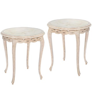 Pair of Italian Painted End Tables With Mirrored Tops For Sale