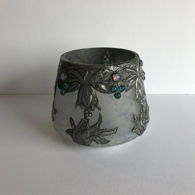 Deco art glass vase with silvered metal overlay and glass cabochons. A great small piece for a small bunch small flowers,...