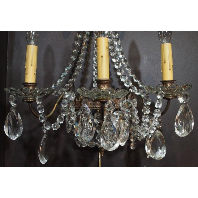 Late 19th Century Pair of Antique French Crystal Three-Light Wall Sconces For Sale - Image 5 of 7