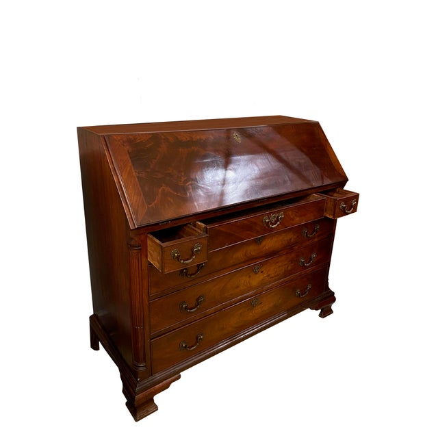 Wood Antique Flame Mahogany Slant Front Desk For Sale - Image 7 of 8
