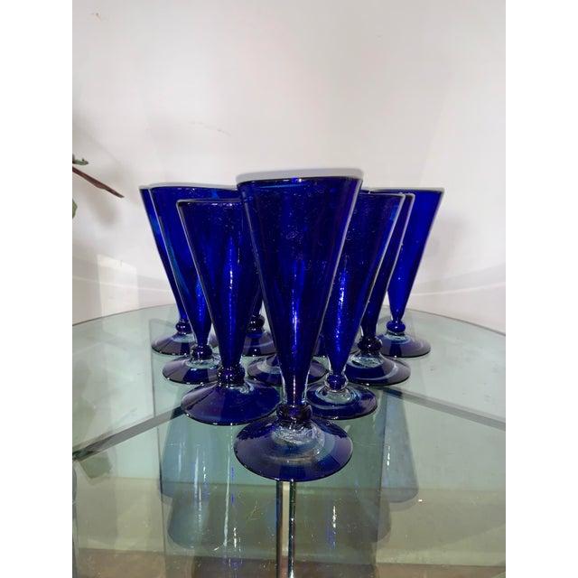 Vintage Cobalt Blue Shrub Glasses - Set of 10 For Sale - Image 11 of 11