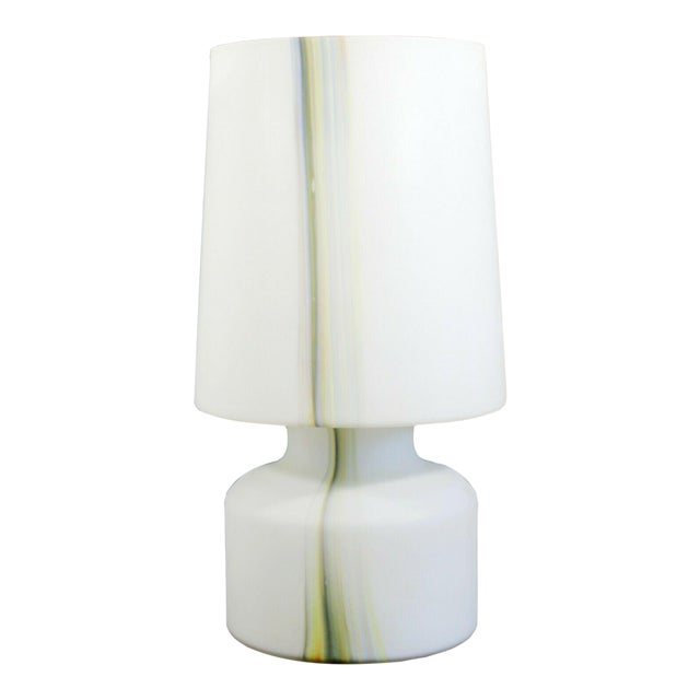 Mid Century Modern Large White Murano Glass Table Lamp 1970s Italy For Sale