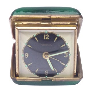 MCM Enamel & Brass Waltham Travel Clock For Sale