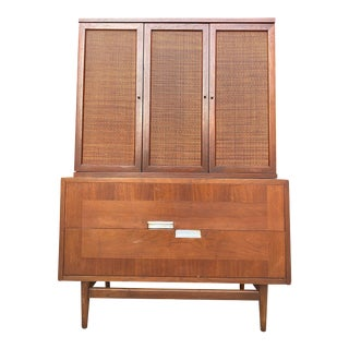 Mid Century Modern Walnut & Aluminum Cabinet Dresser by Martinsville - 2 Pieces For Sale