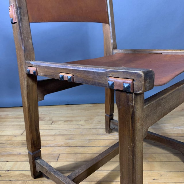 Metal Four French 1940s Saddle Leather & Oak Dining Chairs For Sale - Image 7 of 13