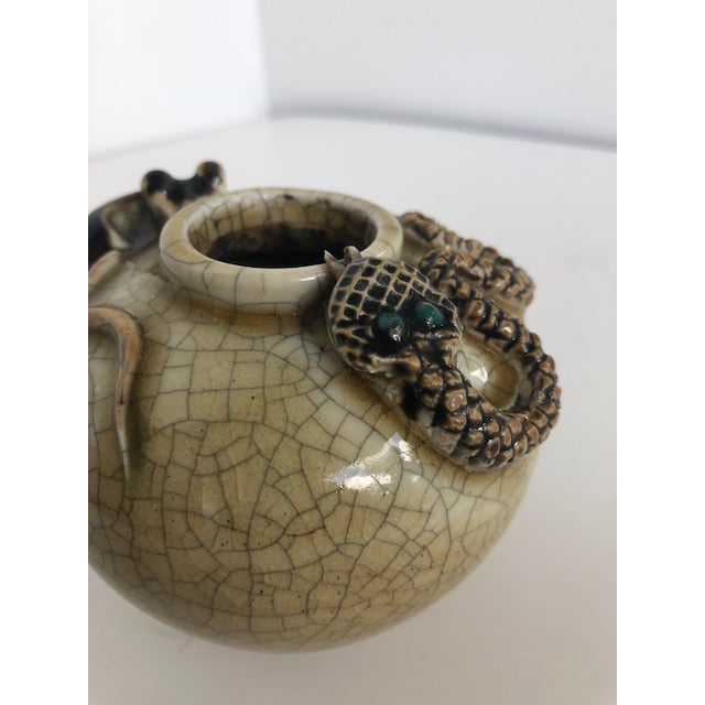 Mid-Century Modern Crackle-Glazed Water-Pot With Applied Snake and Rat For Sale - Image 3 of 11