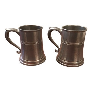 1940s Matching Royal Holland Pewter Tankards - a Pair For Sale