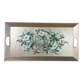 Gold Floral Fruit Tole Tray For Sale