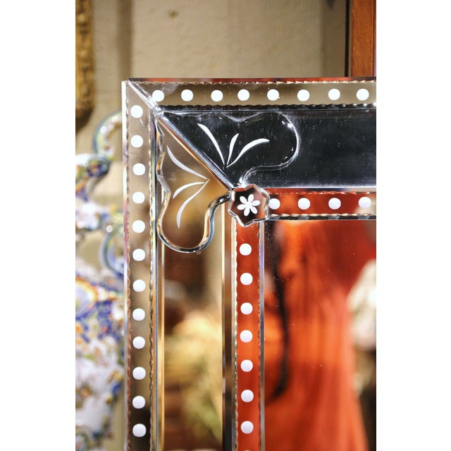 Mid-20th Century Italian Overlay Venetian Mirror With Painted Floral Etching For Sale - Image 4 of 9