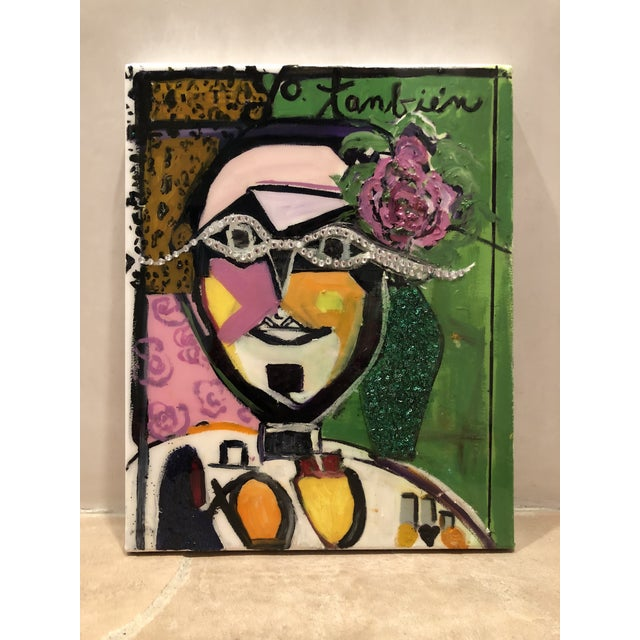 Yo Tambien A La Bling by JJ Justice is an original creation of oil, glitter, crystals, and resin on Canvas. 16x20 unframed...