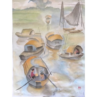 """Vintage Asian """"Fishing Boats on Water"""" Watercolor Painting on Silk For Sale"""