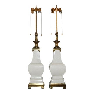 Stiffel Vintage Ceramic Glazed Table Lamps White For Sale