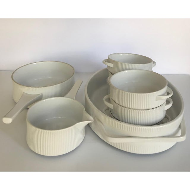 Vintage Mid Century Modern White Ribbed Cordalite Cookware Set - 9 Pieces For Sale - Image 11 of 11