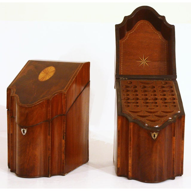 Ebony Pair of George III Mahogany Serpentine Inlaid Knife Boxes Circa 1780 For Sale - Image 7 of 8