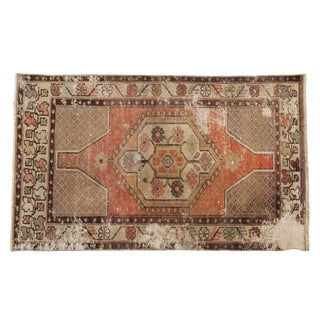"Vintage Distressed Oushak Rug - 2'11"" X 4'11"" For Sale"