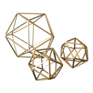 Matte Gold Sculpture Geometric Models - Set of 3