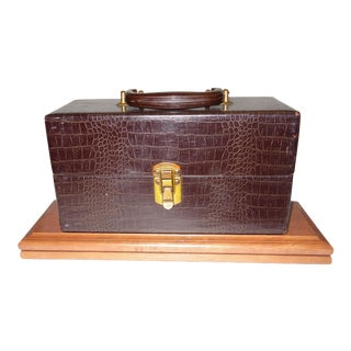 Cinema Equipment Carry Case Patterned Croc Canvas on Wood, Circa 1940s For Sale