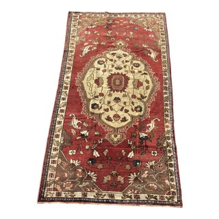 "Vintage Turkish Anatolian Wide Runner Rug - 4'7""x9'2"" For Sale"