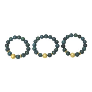 Beaded Ball African Turquoise and Gold Filled Bracelets - Set of 3 For Sale