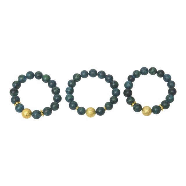 cf19000ac4d Beaded Ball African Turquoise and Gold Filled Bracelets - Set of 3 For Sale