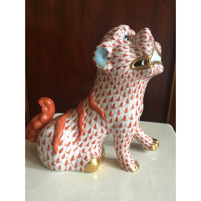 Red Herend Rust Colored Fishnet Pattern Foo Dog Figurine For Sale - Image 8 of 11