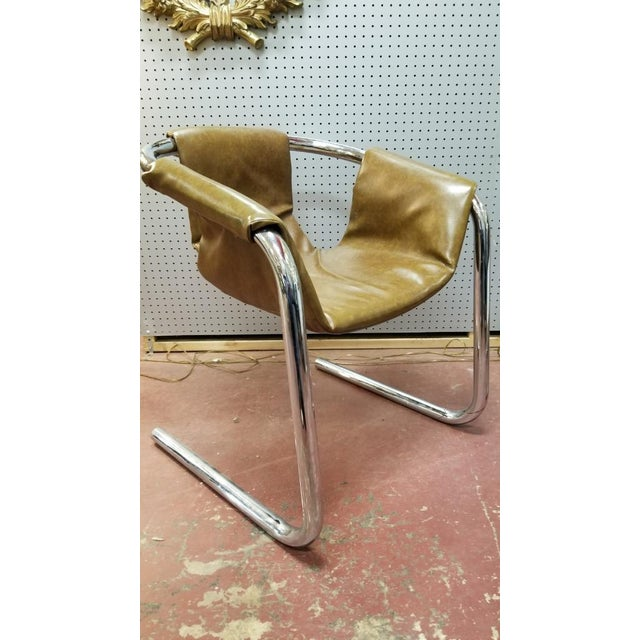 Vecta Group, Italy Italian Zermatt Sling Chairs by Vector Group in Original Distressed Cognac Vinyl and Tubular Chrome Frame - Pair For Sale - Image 4 of 7