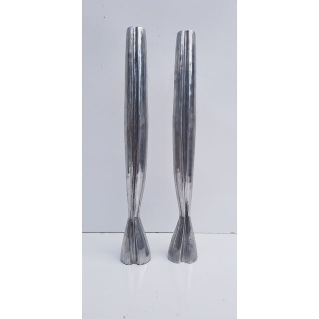Metal 1970s Hollywood Regency Heavy Aluminum Candle Holders - a Pair For Sale - Image 7 of 7