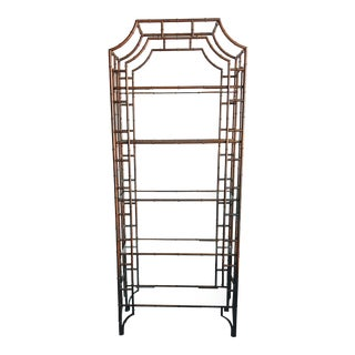 1960s Hollywood Regency Metal Faux Bamboo Etagere For Sale