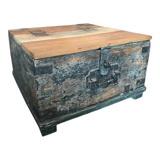 Vintage India Square Trunk Table For Sale