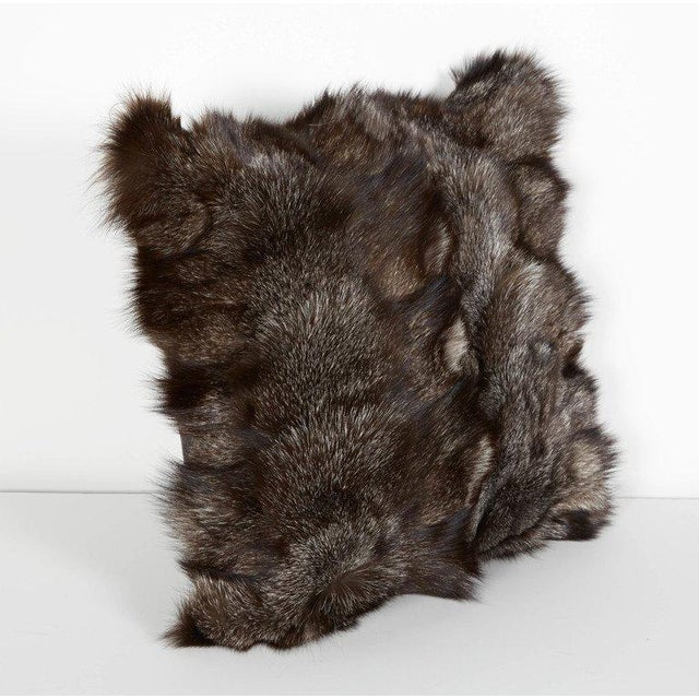 Contemporary Pair of Luxe Genuine Fox Fur Pillows in Hues of Grey For Sale - Image 3 of 7