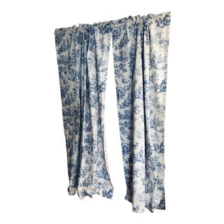 White/Blue Toile Drapes - a Pair For Sale