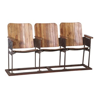 Vintage Theatre Three Seater Chairs For Sale