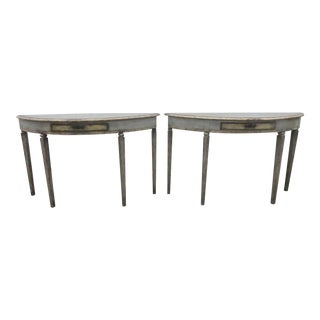18th Century Painted Demi Lune Italian Console Tables - a Pair For Sale