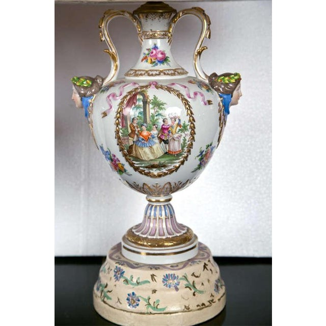 Porcelain Meissen Style Urn Form Lamps - Pair For Sale - Image 9 of 9