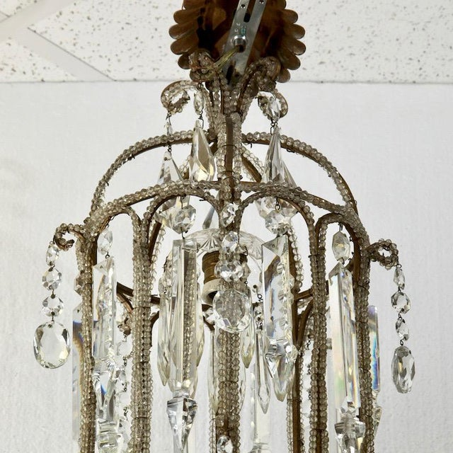 French Crystal Lantern Style Chandelier with Beading - Image 5 of 5