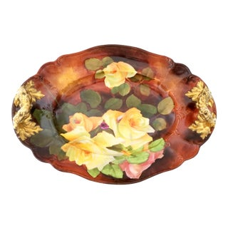 Antique Habsburg Austria Yellow Rose Platter For Sale