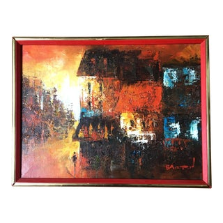 Mid Century Modern Oil on Canvas Cityscape by Edward Barton For Sale