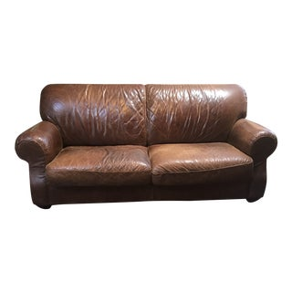 Restoration Hardware 1920s Parisian Leather Sofa in Cocoa For Sale