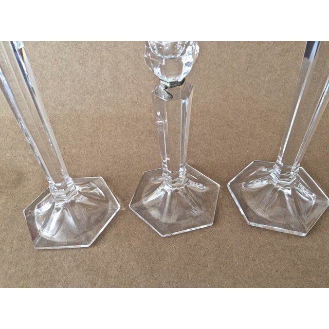 Vintage Crystal Candle Holders - Set of 3 For Sale In Tampa - Image 6 of 7
