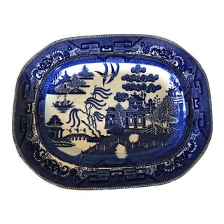 1930s English Flow Blue Willow Large Platter For Sale