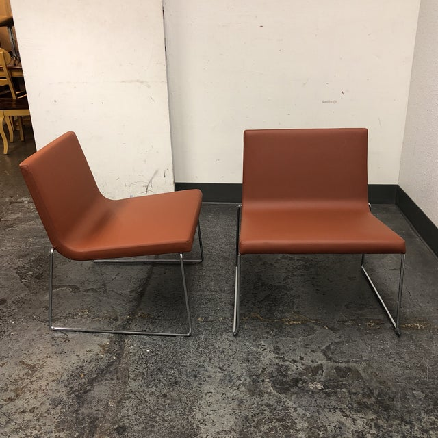 Andreu World Lineal Comfort Collection Side Chairs - A Pair - Image 5 of 7