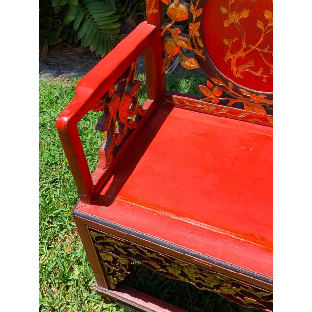 Chinese Red Lacquer and Gilt Throne Chairs - a Pair For Sale - Image 11 of 13