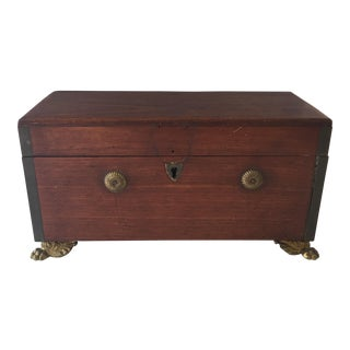 1907 Antique English Box With Brass Feet