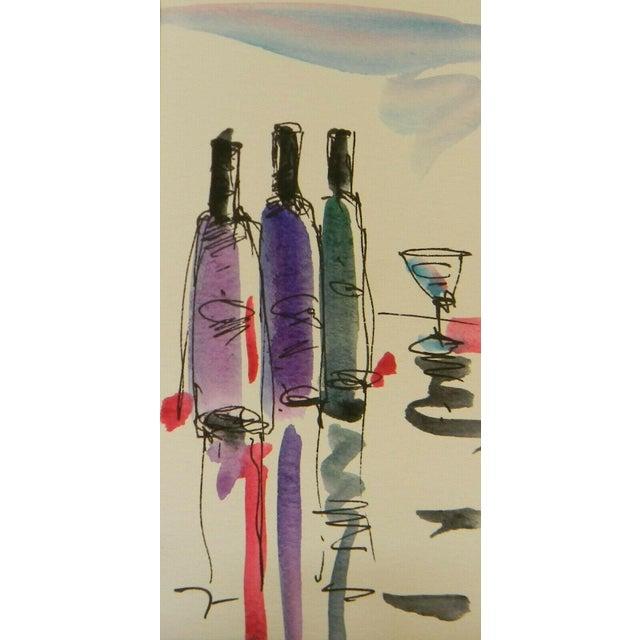 "Jose Trujillo Original Watercolor Painting of Small Wine Bar - 3x6"" For Sale"
