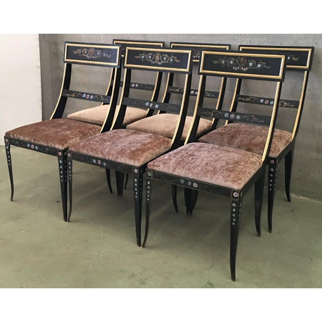 Hollywood Regency Early Regency or Gustavian Bellman Chair After Sheraton, Set of Six Iron Chairs For Sale - Image 3 of 10