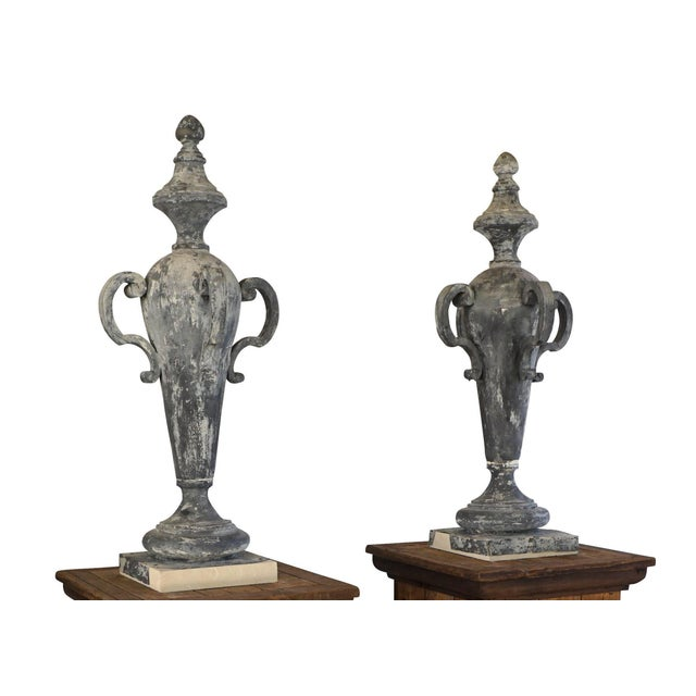 19th Century French Napoleon III Zinc Finial Urns - a Pair For Sale - Image 11 of 11